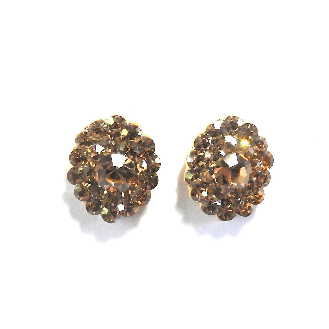 Oval Earrings Encrusted with Golden Crystal