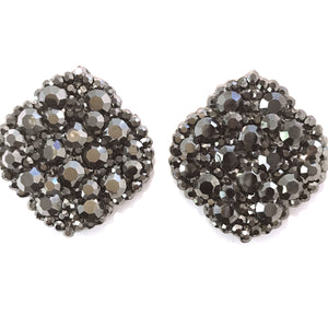 Lozenge Earrings Studded with Dark Grey Crystals