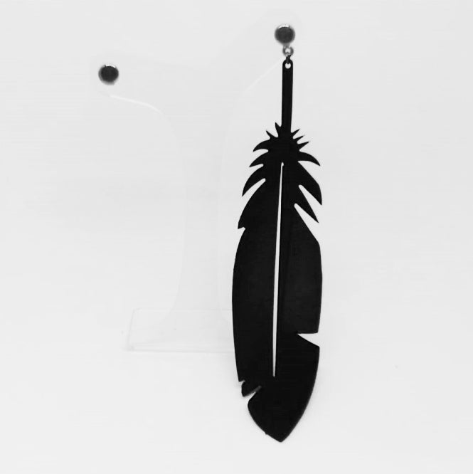Feather Rubber Earring with Metal Stud