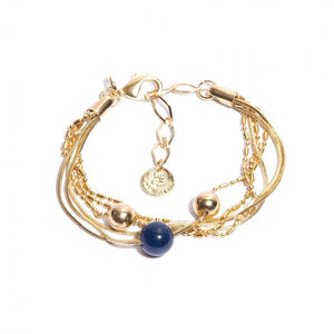 Blue Agate Bracelet Gold Plated