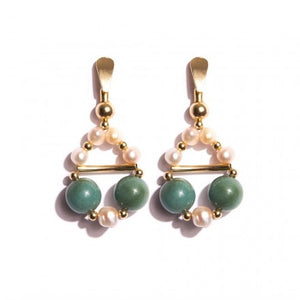 Green Jade Earrings with Pearls - Gold Plated