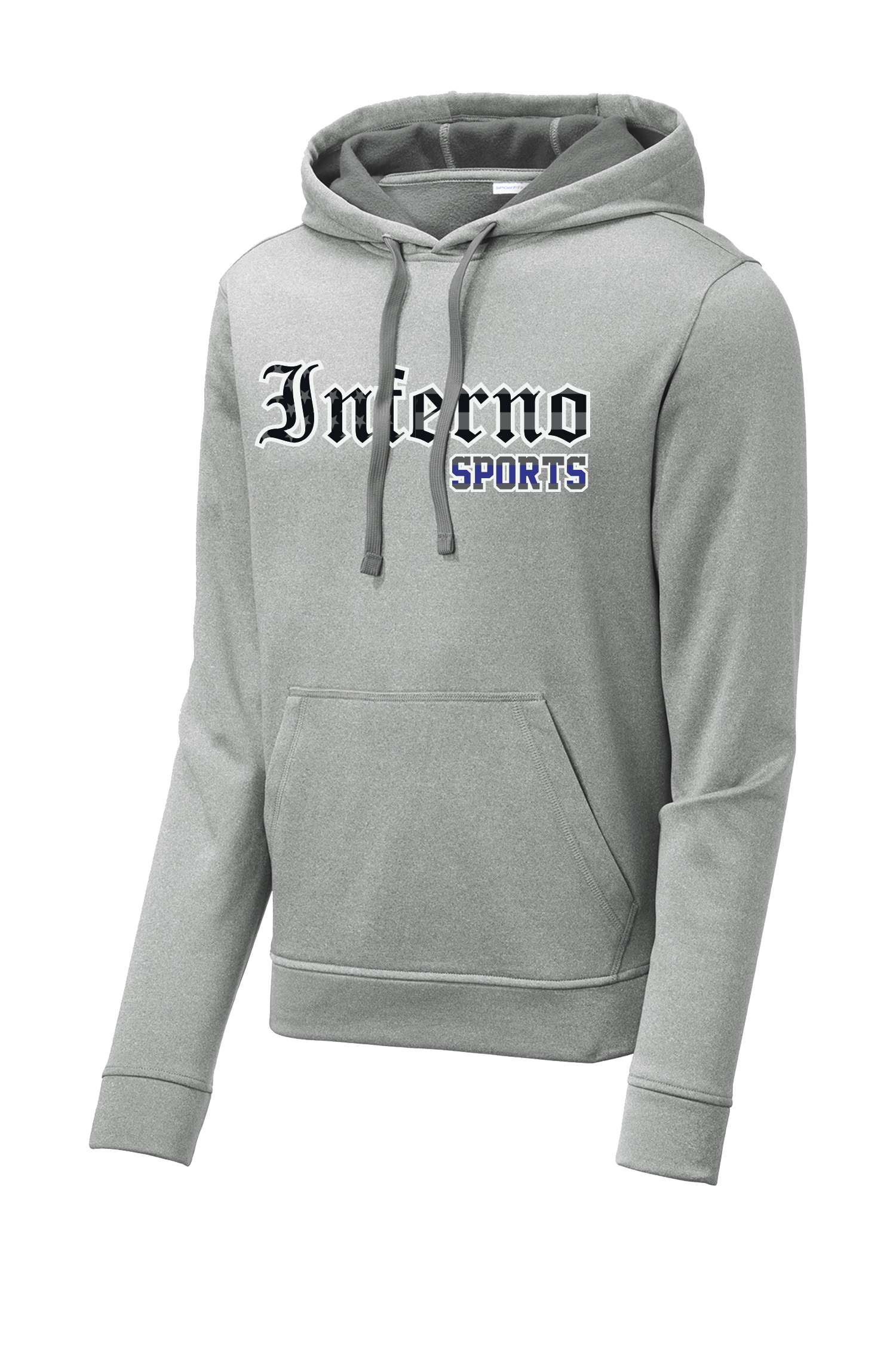Inferno Heather Fleece Hooded Pullover -Blue Line Flag