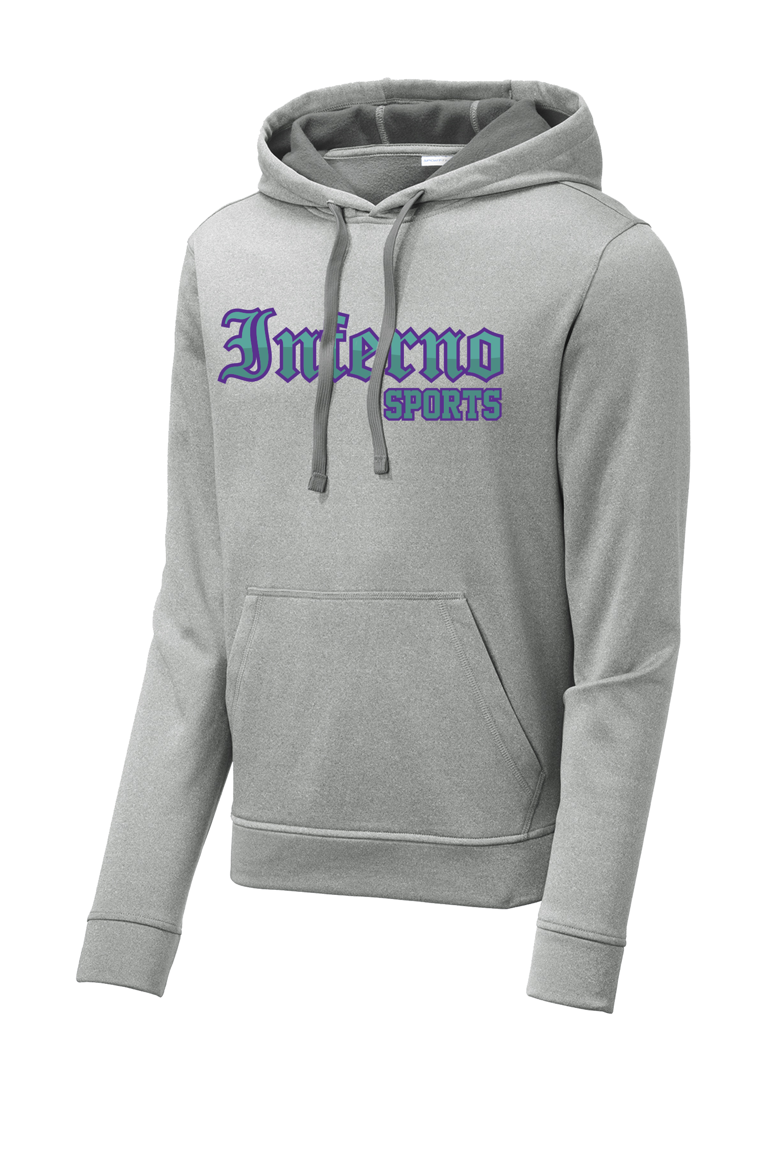 Inferno Sports Heather Fleece Hooded Pullover - Teal/Purple