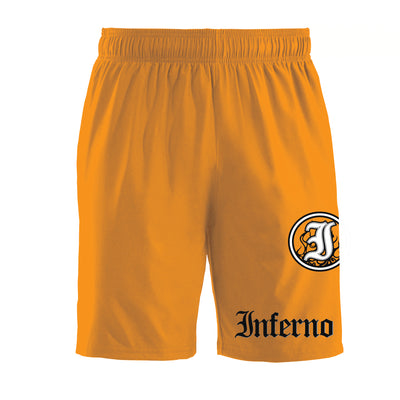 Inferno 4-Way Neon Orange Microfiber Shorts