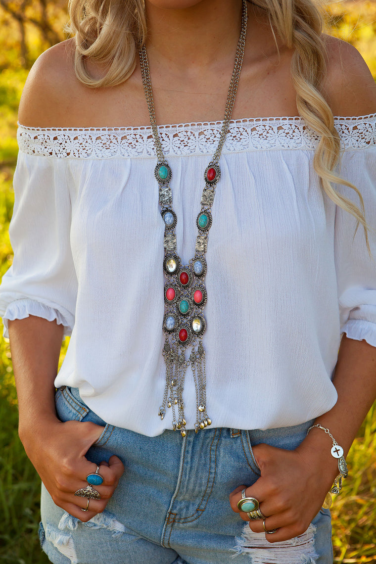 Coloured Stone Tassel