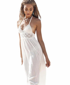 New Fashion White Sling V-Neck Backless Sexy Chiffon Dress Sleeveless Hollow Out Summer Women Beach Dress