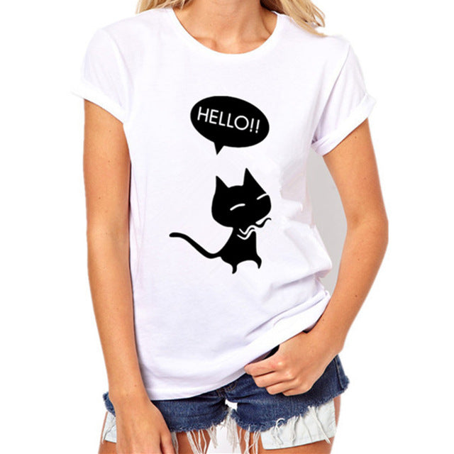 Gatto Nero Short Sleeve Shirts Cat Print Casual Women Tops