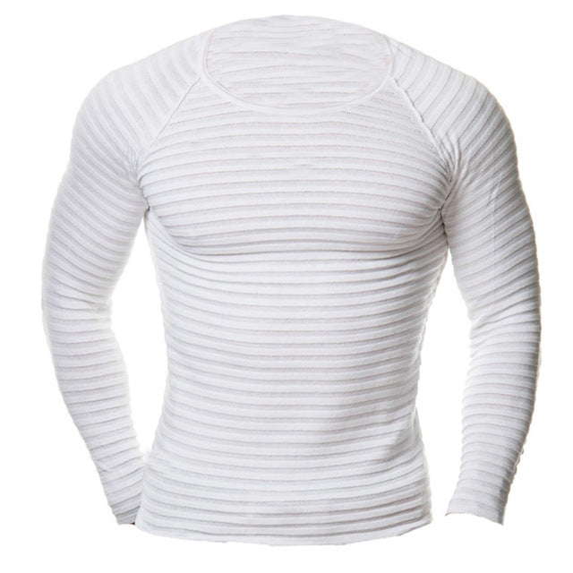 Men's Fashion Muscle Pullover Slim Fit T-Shirt Crew Neck Top Long Sleeves Men Shirt  Male Gyms Clothing