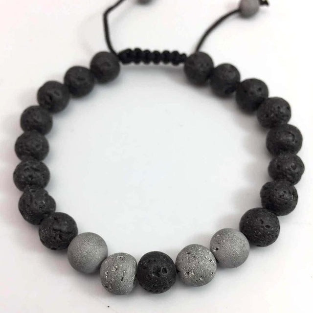 The Tigers Eye - Black Lava Rock Beaded Bracelet