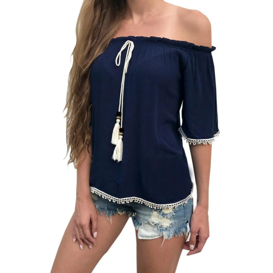 Casual Lady Tassel Sexy Off Shoulder Shirt Short Sleeve Tops Slash Neck Blouse
