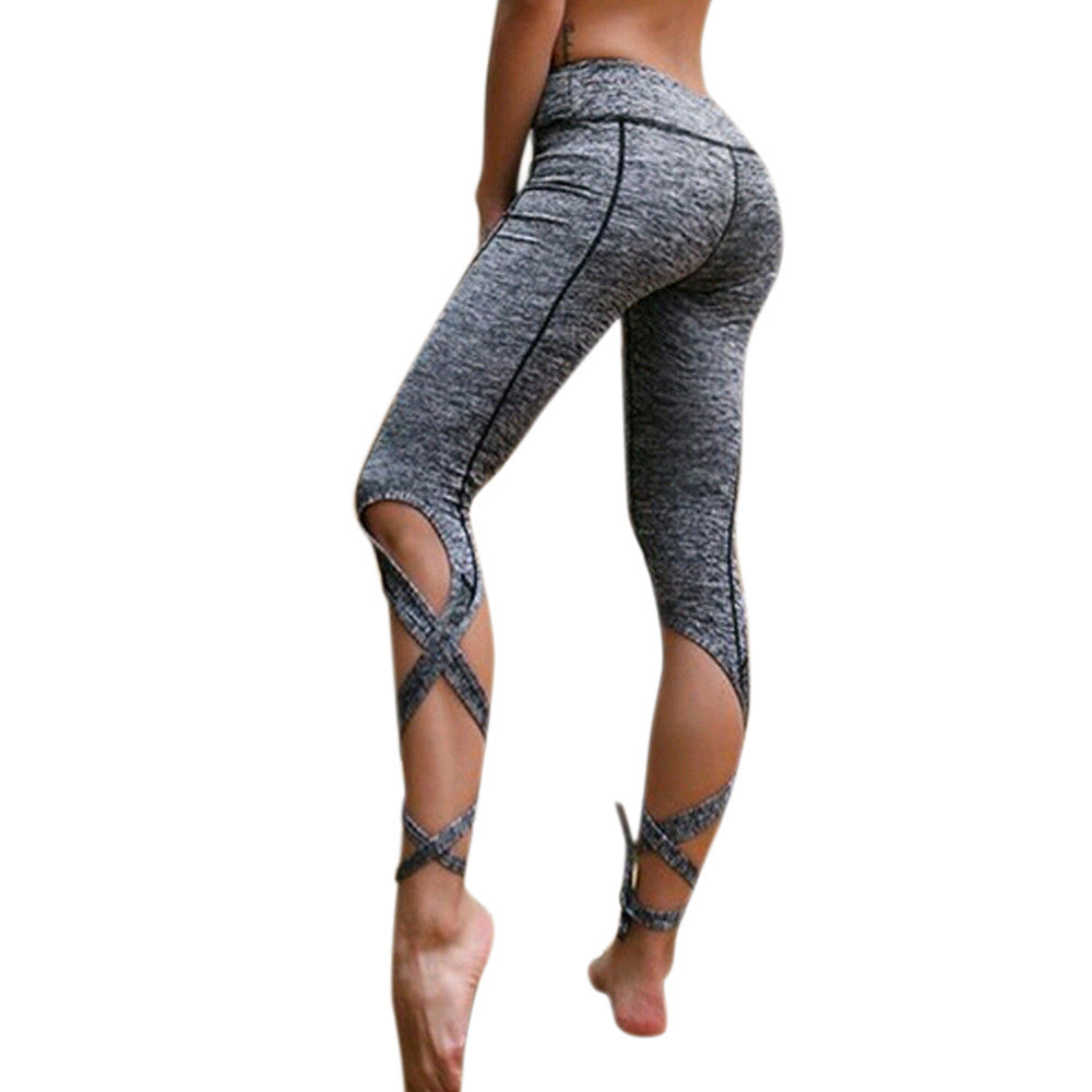 Women Workout Leggings Fashion Bandage workout Cropped Fitness Lounge Medium Length Elastic Waist Pants