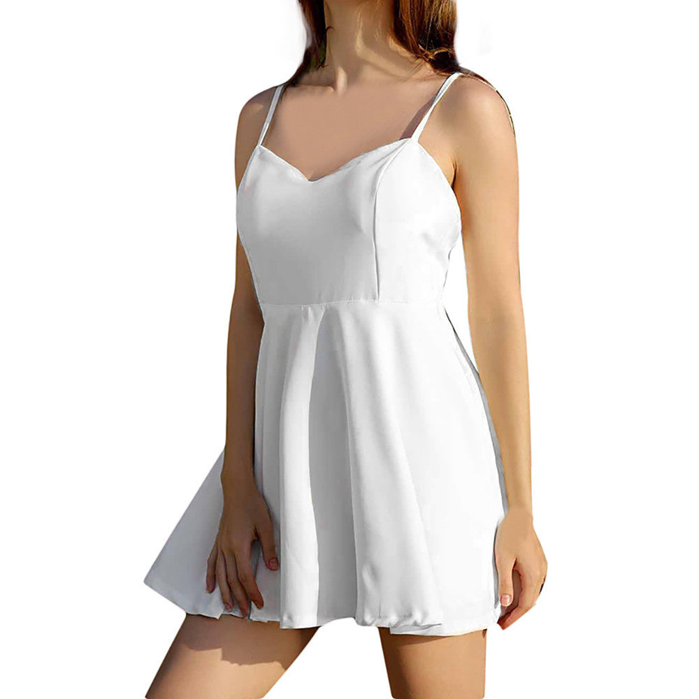 Elegant White Dress Women Sexy backless V - Neck Angel Wings beach Backless Feathers Empire A-Line Mini Dress