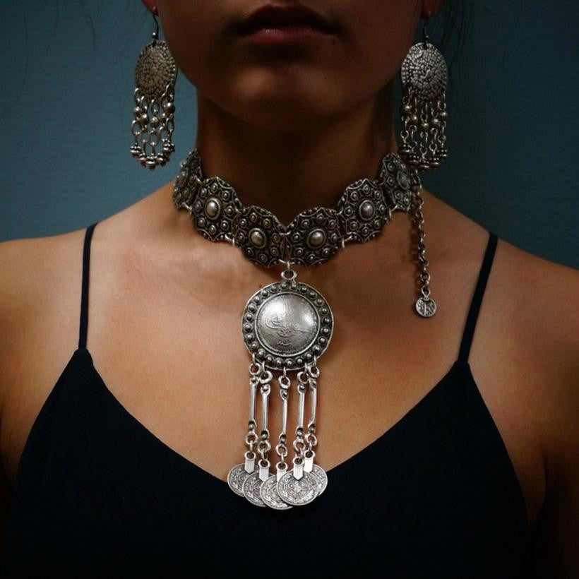 New women Bohemian Gypsy Festival Silver Coin Collar Statement Necklace female ornamentation suspension kolye accessories