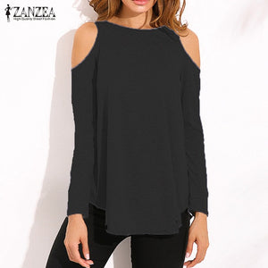 Ladies Sexy Off Shoulder Long Sleeve Pullover Casual Loose Blouse Shirts