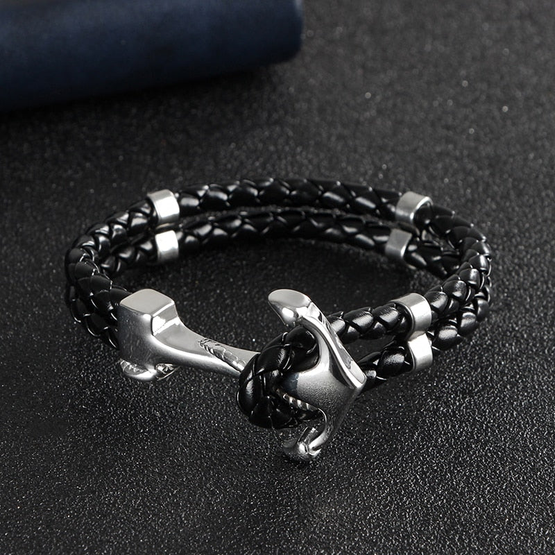 Leather & Stainless Steel Anchor Bracelet