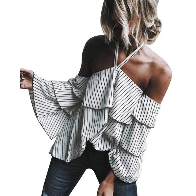 Fashion New Arrival Womens Sexy Hanging Neck Off Shoulder Ladies Casual Striped Shirt Tops White Blouse Top
