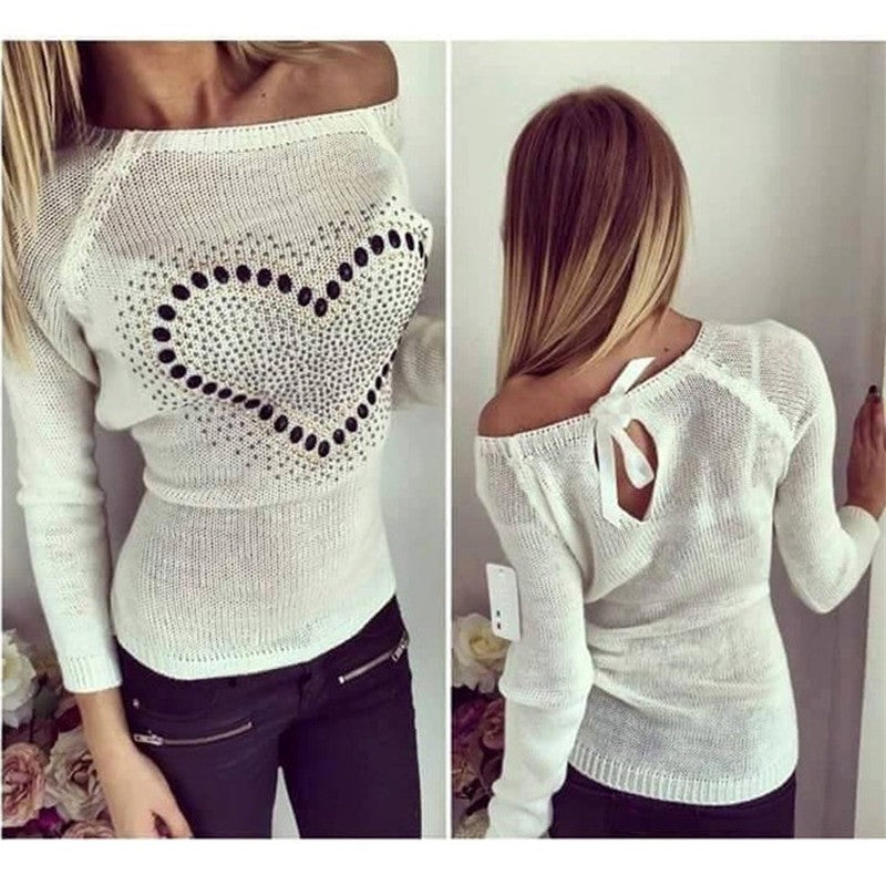 Winter Women Warm Sweater Hollow Back Lace Up Knitted Pullover Tops O Neck Knitwear Top Jumper