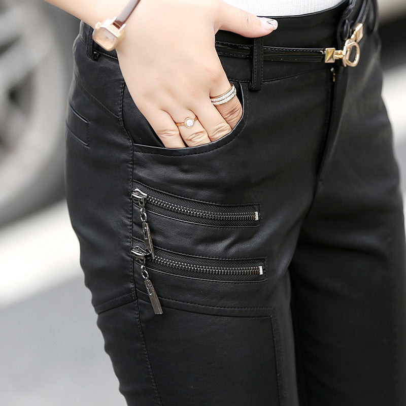 Casual Faux Leather Pants Lady Hot Slim Stylish Zipper Fashion Pencil Skinny Trousers For Woman With Belt