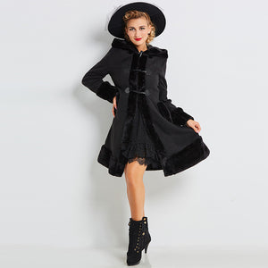 Women European winter coats long sleeve single breasted slim black hooded autumn solid overcoats