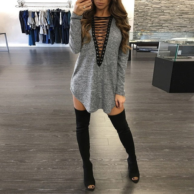 Women Long Sleeve Bandage Lace Up V Neck  Casual Mini Dress