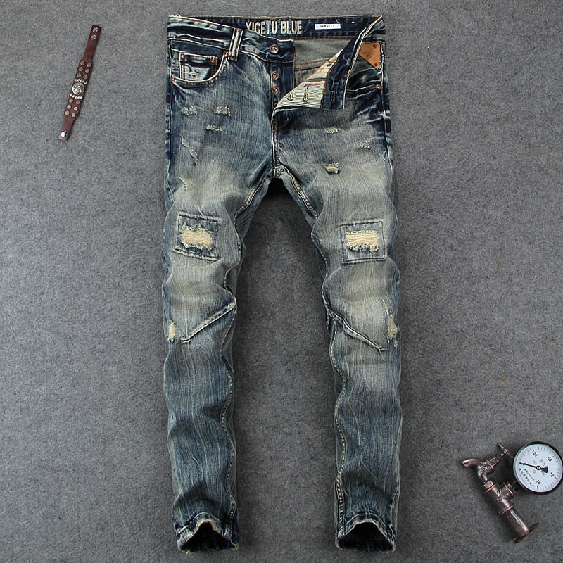 Frayed Retro Biker Ripped Jeans For Men