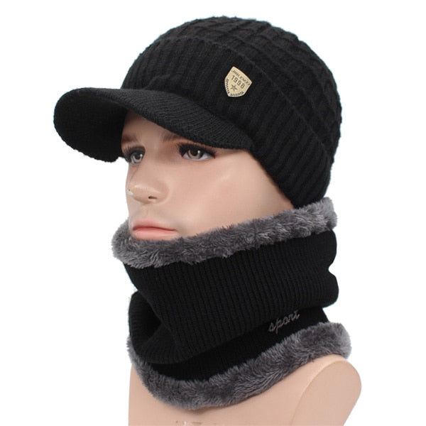 Winter Hat Skullies Beanies Hats For Men & Women With Scarf