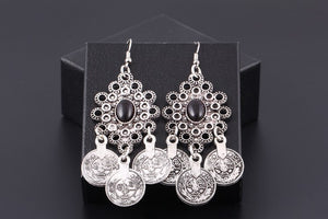 Vintage Silver Turkish Coin Earrings floral design Boho Gypsy  Tribal Festival Jewellery Bohemian Earrings