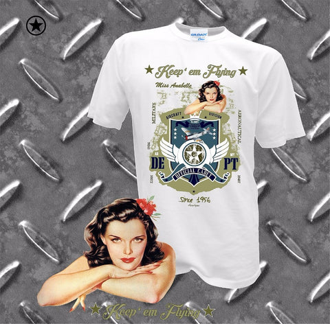 Keep'em Flying Retro PinUp Tshirt