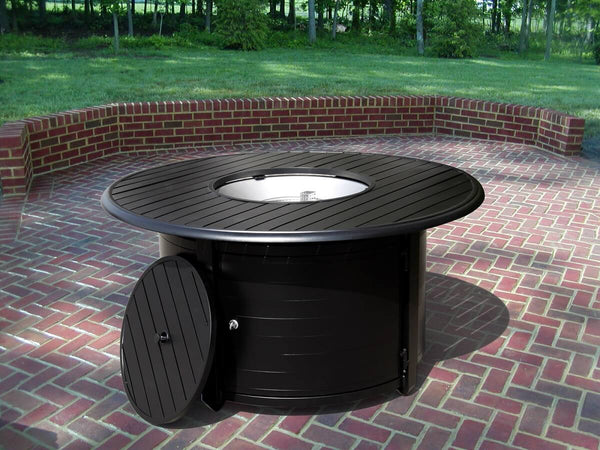 Propane Outdoor Fire Pit Table Round Extruded Aluminum In Black