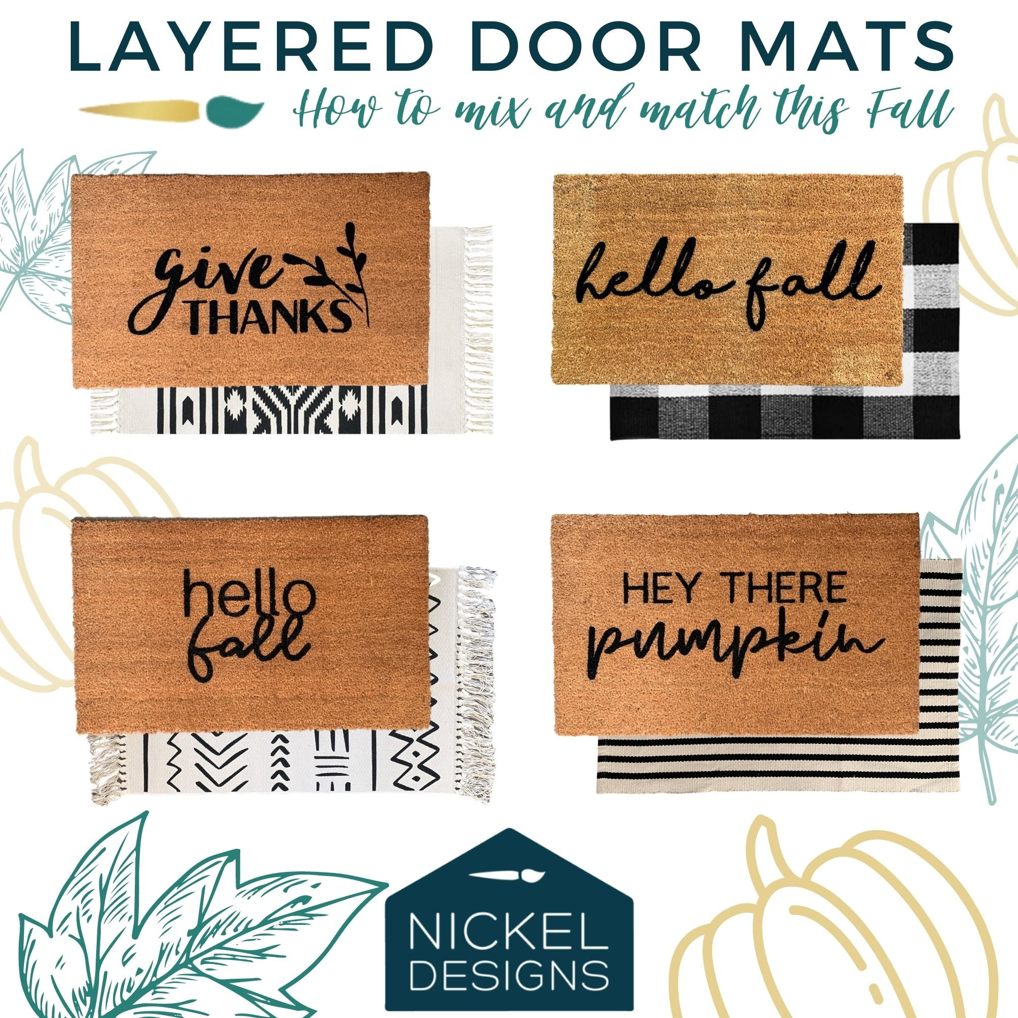Easy fall porch update! Layer your doormat this fall.