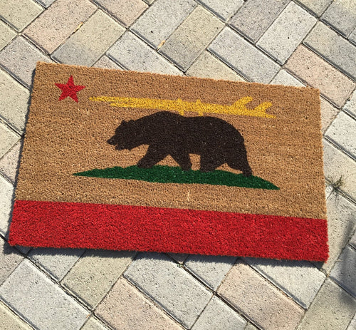 Doormat - California Bear With Surfboard Custom Doormat