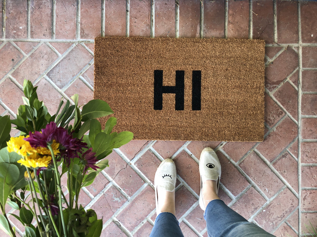 Doormat - Modern HI Doormat / Custom Welcome Mat / Housewarming Doormat / Summer Doormat