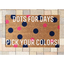 Doormat - Polka Dot Welcome Mat/Custom Colors/Handpainted Funny Doormat/Housewarming Gift/Wedding Gift/Personalized Doormat/Unique Gift