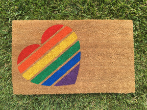 Doormat - Pride Heart Doormat / LGBT Wedding Gift / Gay Pride Heart / Outdoor Doormat