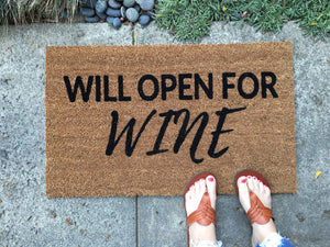 Doormat - Will Open For Wine Doormat