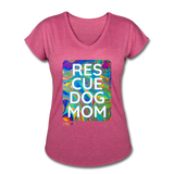 Womens V-Neck - Rescue Dog Mom - heather raspberry