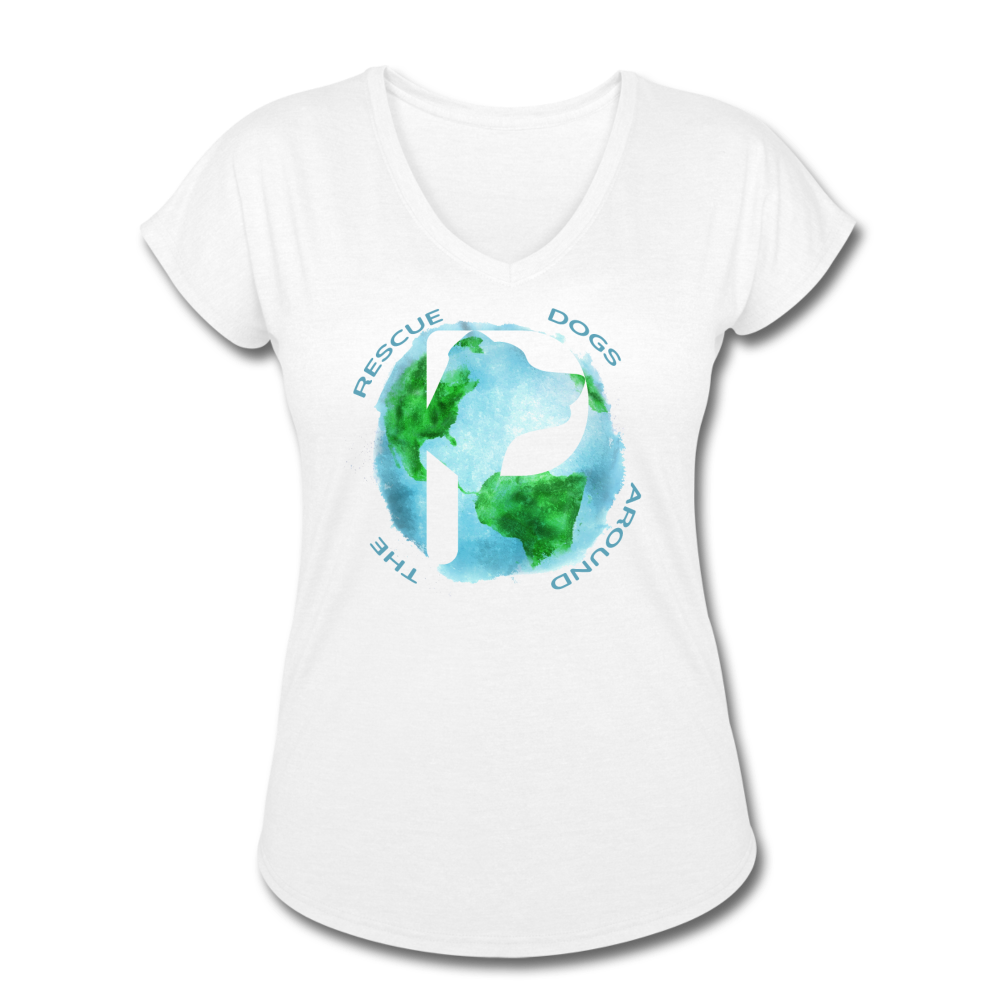 Women's V-Neck - Rescue Dogs Around The World - white