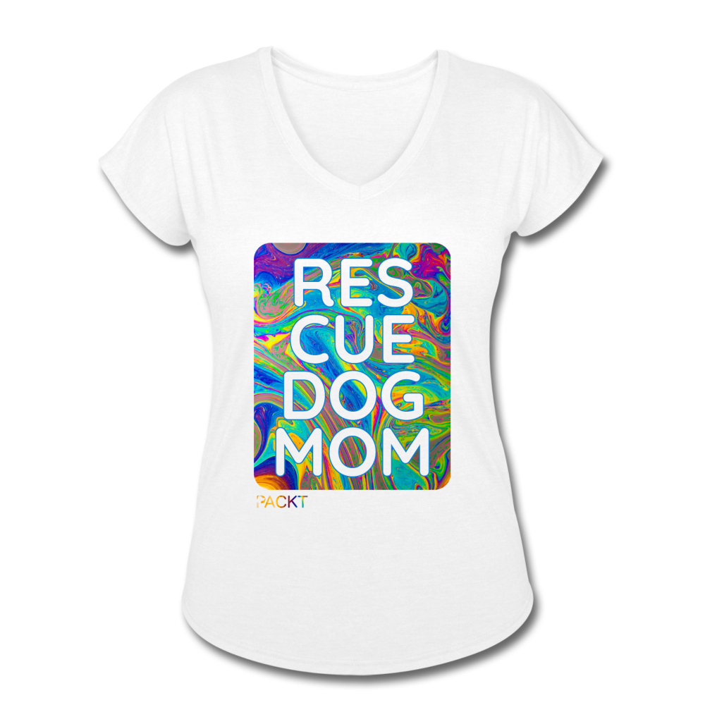 Womens V-Neck - Rescue Dog Mom - white