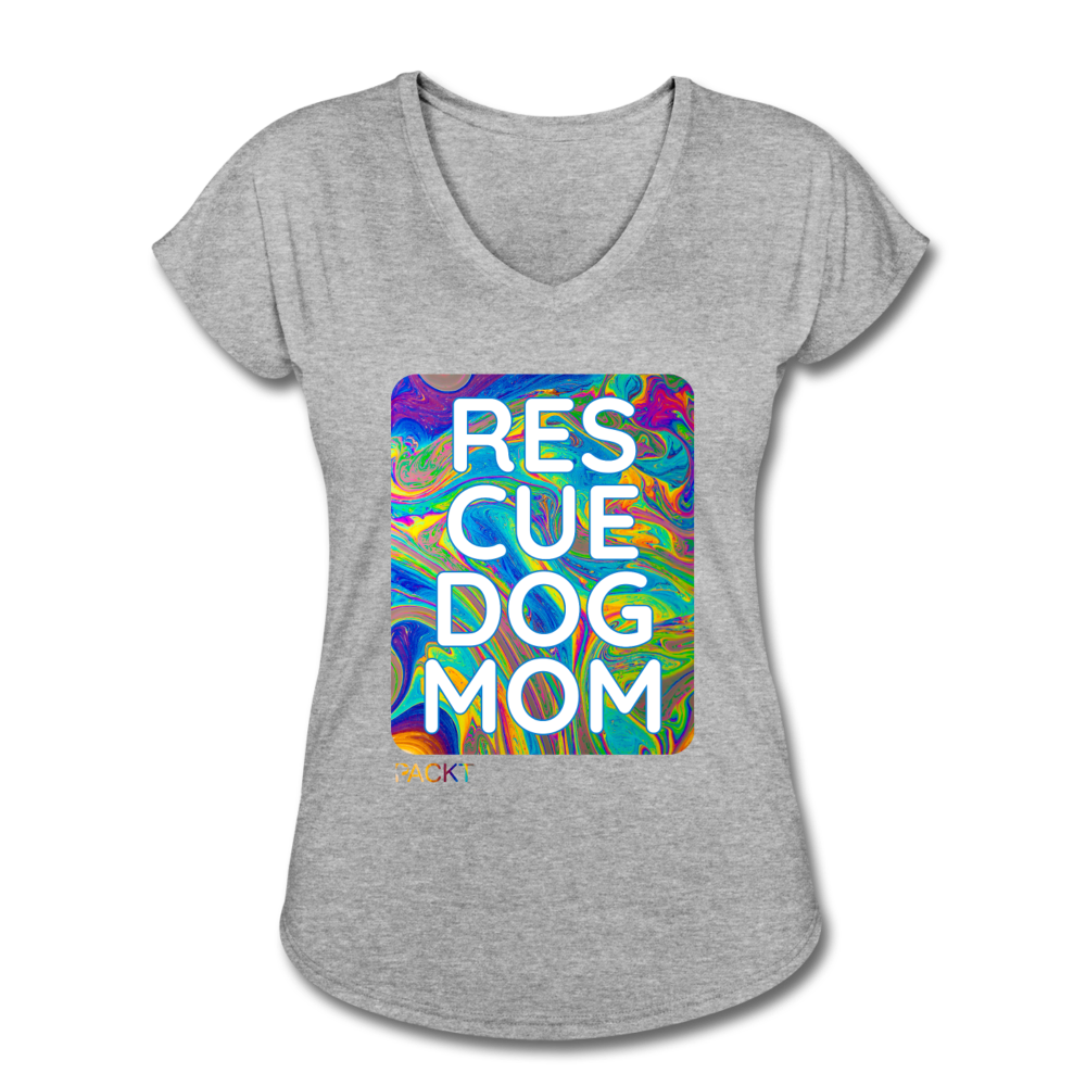 Womens V-Neck - Rescue Dog Mom - heather gray