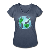 Women's V-Neck - Rescue Dogs Around The World - navy heather