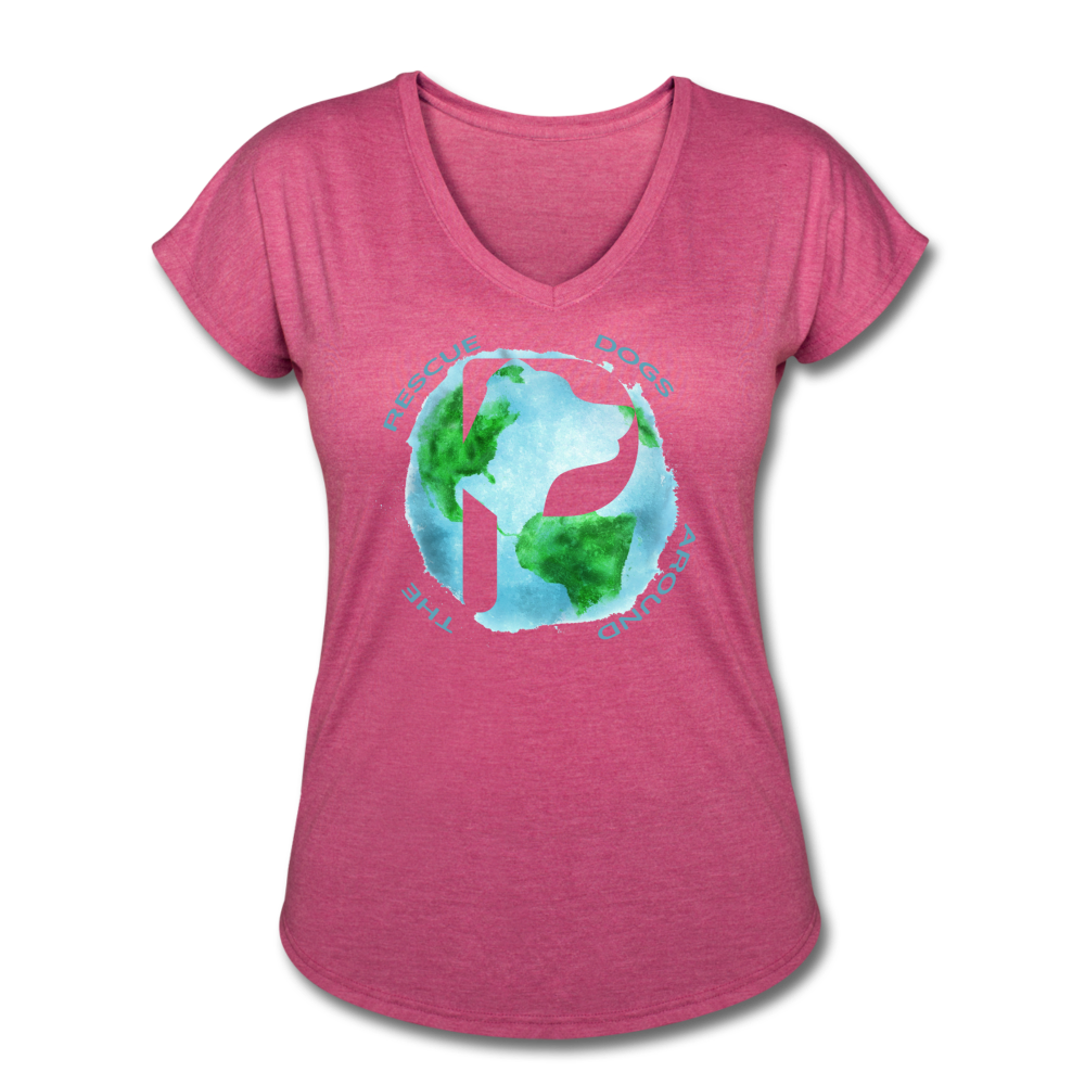 Women's V-Neck - Rescue Dogs Around The World - heather raspberry
