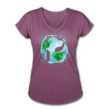 Women's V-Neck - Rescue Dogs Around The World - heather plum