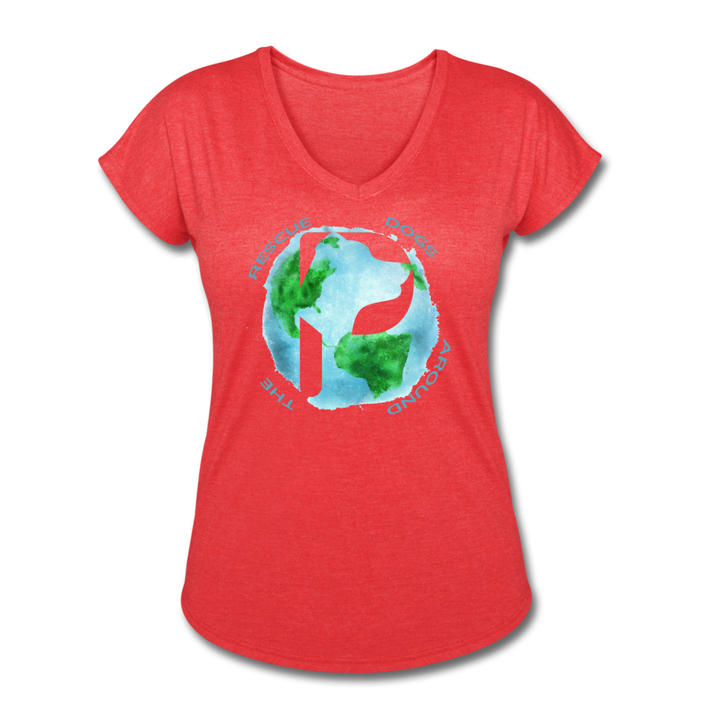 Women's V-Neck - Rescue Dogs Around The World - heather red