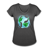 Women's V-Neck - Rescue Dogs Around The World - deep heather