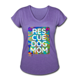 Womens V-Neck - Rescue Dog Mom - purple heather
