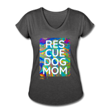 Womens V-Neck - Rescue Dog Mom - deep heather