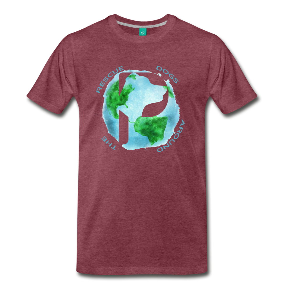 Men's Premium T-Shirt - Rescue Dogs Around The World - heather burgundy