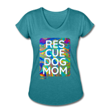 Womens V-Neck - Rescue Dog Mom - heather turquoise