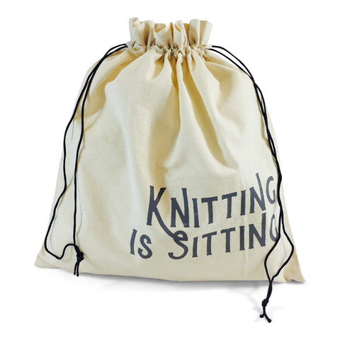 "Edict Project Bag-Large ""Knitting is Sitting for Creative People"""