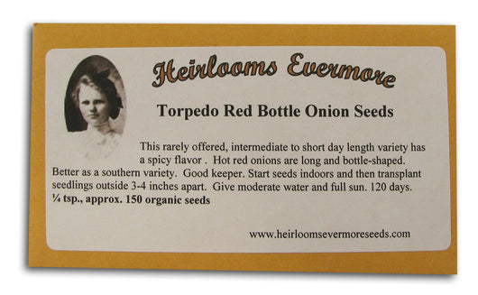 Torpedo Red Bottle Onion Seeds, Org